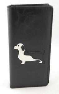 Black-Vegan-Faux-Leather-Bifold-Wallet-Dachshund-Piebald-Applique-Black-White