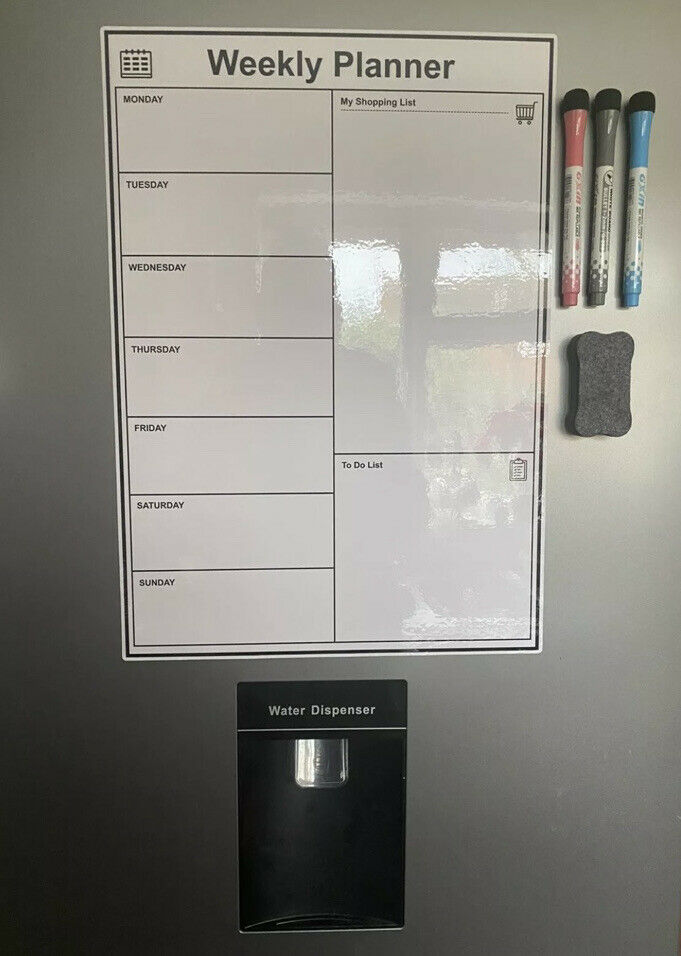 MAGNETIC WHITEBOARD FOR FRIDGE DRY ERASE WEEKLY MENU PLANNER A3 29.7cm x 42cm