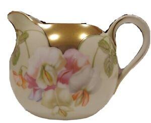 Vintage-PSAG-Bavaria-Floral-Creamer-Gold-Accents-and-Trim-Beige-White-Pink-Flowe