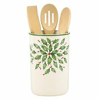 Lenox Holiday Utensil Crock With 3 Wooden Servers, New, Free Shipping on sale