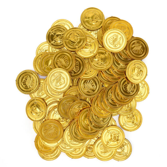 100pcs Plastic Gold Coins Pirate Pirates Treasure Chest Coin Loot Party Favors^