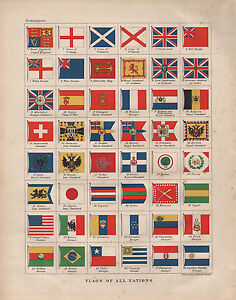 1899 VICTORIAN PRINT ~ FLAGS OF ALL NATIONS ~ CHILE BRAZIL JAPAN TUNIS BELGIUM