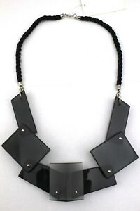 H-amp-M-Smoky-Gray-Black-Lucite-Multi-Shape-Chunky-Rope-Statement-Necklace-NWT
