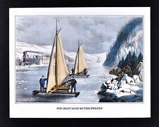 Currier & Ives Print - Ice Boat Race on the Hudson River - Winter Scene Vintage