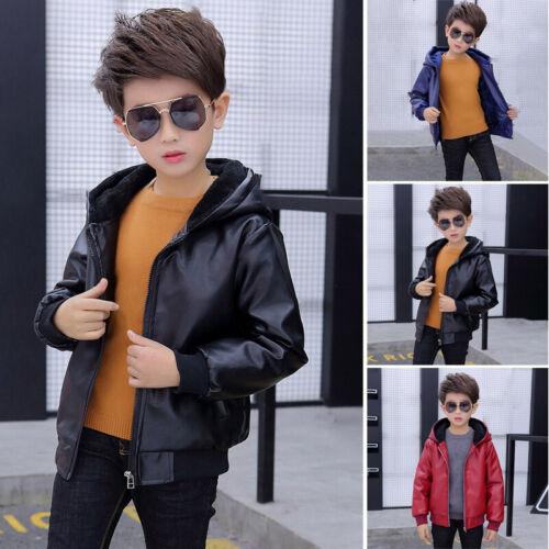 Boys Kids PU Leather Warm Jackets Thick Outwear Hooded ZIP Overcoat Parka Coats