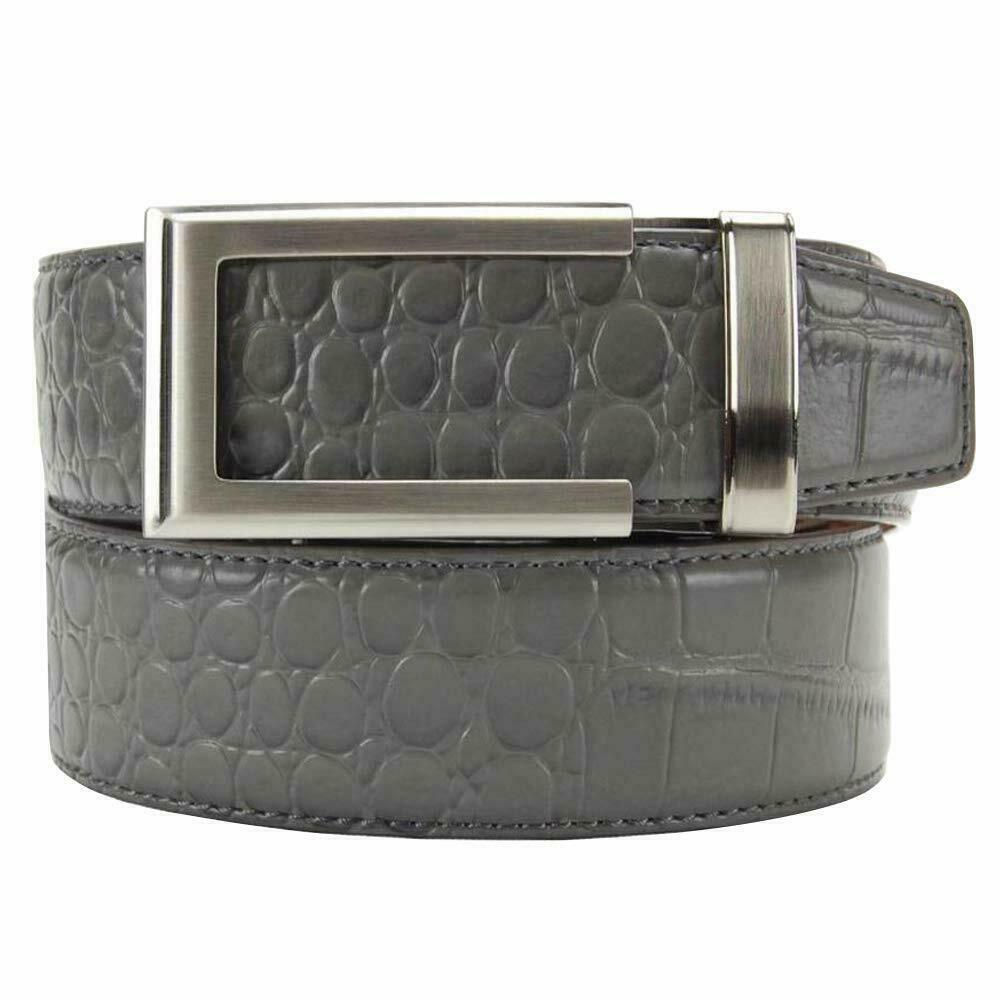 Nuovo Nexbelt Premium Alligatore pelle grau Cricchetto Sistema Cintura