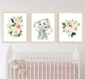 Vivero De Elefante Rosa Floral Print, Rubor Bohemia Floral Arte Animal Set 3 621-A