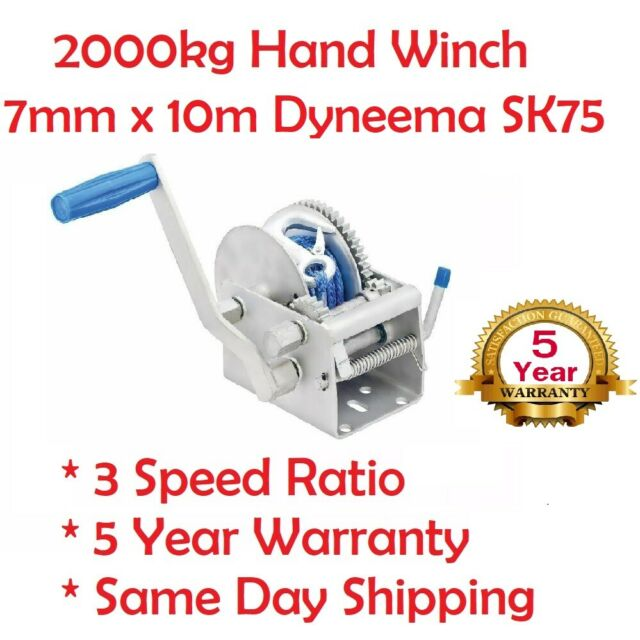 Hand Winch 2000KG/4410LBS 3 Speed Dyneema Rope Manual Car Boat Trailer 4WD