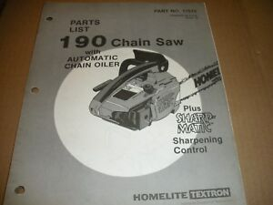 Image Is Loading Homelite Chainsaw Parts List Ipl 190 17515