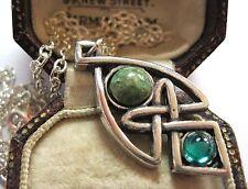 VINTAGE Design miracolo Gioielli Amore Celtico Nodo Collana con pendente in vetro IONA
