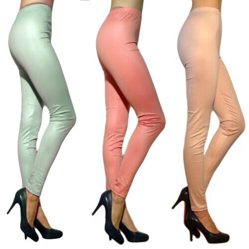 Femmes Leggings Leggins en cuir pantalon opaque synthétique MINT rose 36 38 40 42