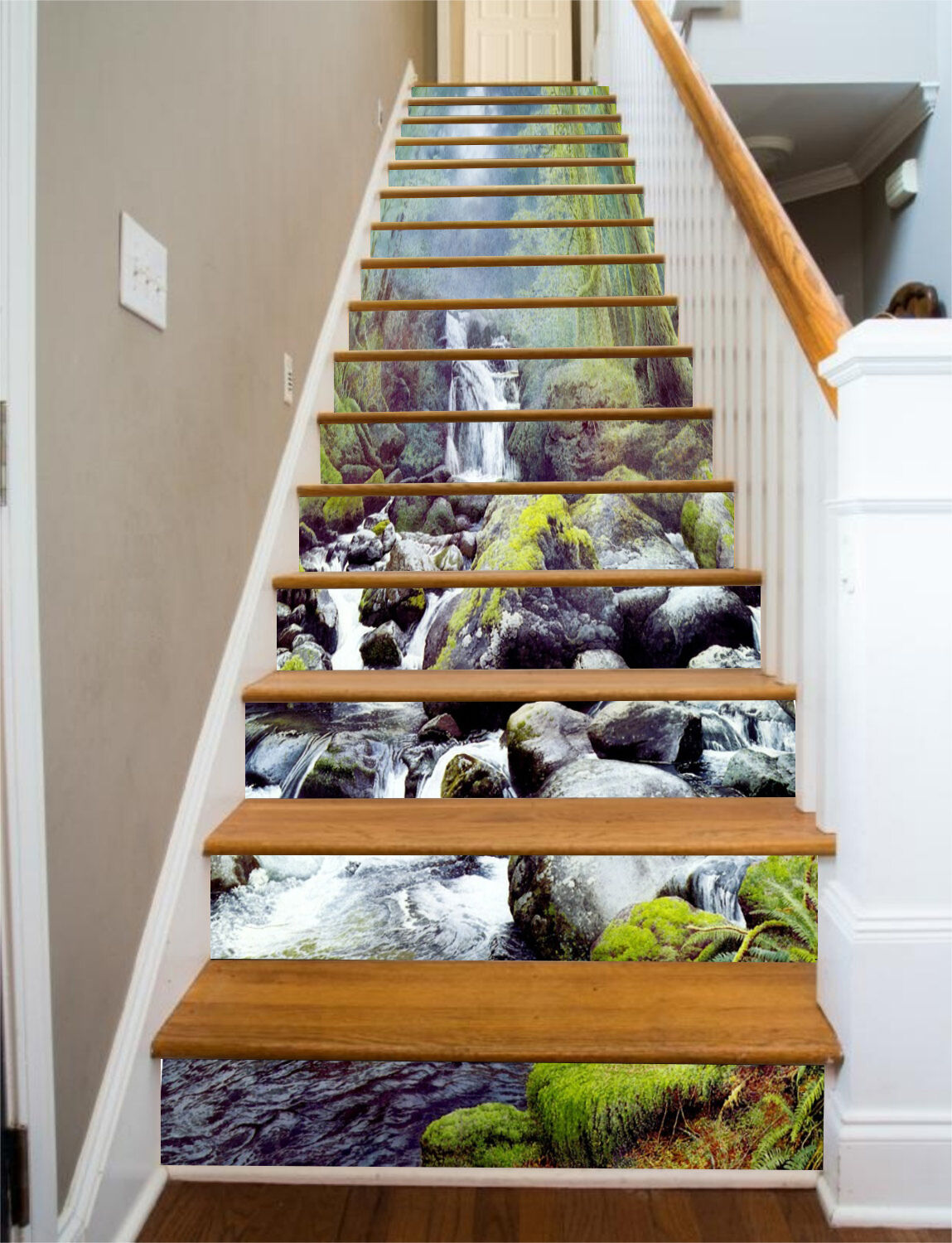 3D Water stone tree Stair Risers Decoration Photo Mural Vinyl Decal Wallpaper AU