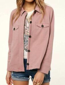 e6aa4cea4bc O Neill RIPLEY Womens 100% Cotton Button Front Jacket Small Blush ...