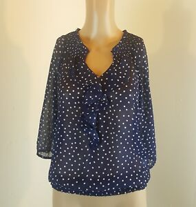 Old Navy Women's Blouse Blue White Polka Dots Size XS Sheer
