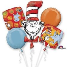 Dr. Seuss Cat in the Hat Happy Birthday Party Favor 5CT Foil Balloon Bouquet