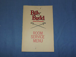 VINTAGE  BILLY BUDD RESTAURANTS ROOM SERVICE   MENU