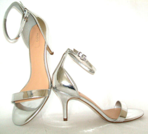 Kitten Low Shoes Sandals Size Ankle Silver Aldo Zenavia 36 Strap Heel 3 Mid New 80U7qw