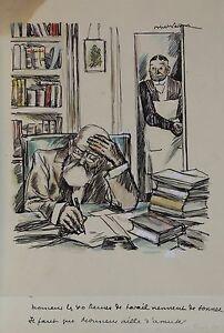 Dynamique Abel Jules Faivre (1867-1945) Encre,gouache:il Faut Que Monsieur Aille S'amuser