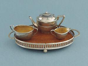 Antique English Sterling Silver Doll House Miniature 4 Piece Tea Set 1905-afficher Le Titre D'origine Dans La Douleur