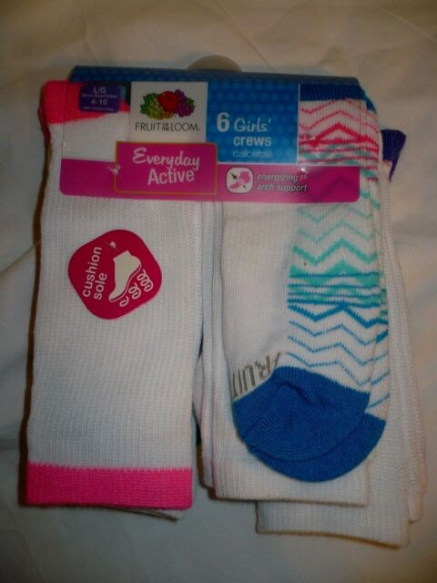 NEW Fruit of the Loom 6 Pair Girl/'s Ankle Socks Everyday Active
