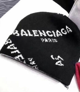 Image is loading NEW-BALENCIAGA-Knit-hat-winter-wool-cashmere-black- 33d37845ab0