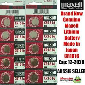 10 PCS x CR1616 3V LITHIUM BUTTON COIN BATTERY MADE IN JAPAN BEST BEFORE:12/2028