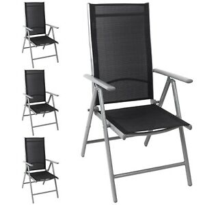 alu hochlehner gartenstuhl liegestuhl 8 pos verstellbar klappbar silb schw 4stk ebay. Black Bedroom Furniture Sets. Home Design Ideas