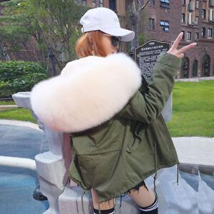 New-Luxury-Real-Large-Fox-Fur-Collar-Hooded-Coat-Women-Cotton-Short-Parka-Jacket