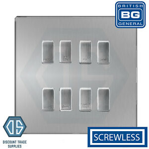 BLACK NICKEL,SATIN NICKEL CHROME SCREWLESS GRID SWITCH PLATE 1,2,3,4,6,8  GANG