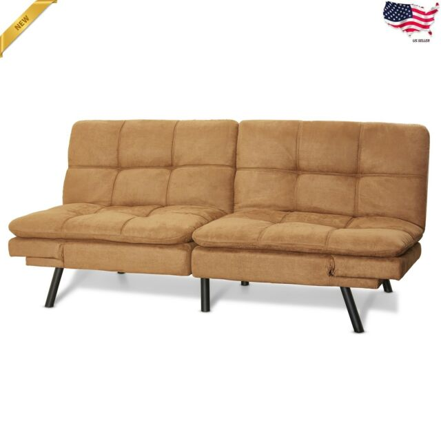 Sleeper Sofa Bed Suede Convertible Couch Modern Futon Living Room Loveseat