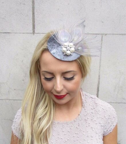 Grey Silver Velvet Feather Pillbox Hat Fascinator Hair Clip Races Vintage 3277