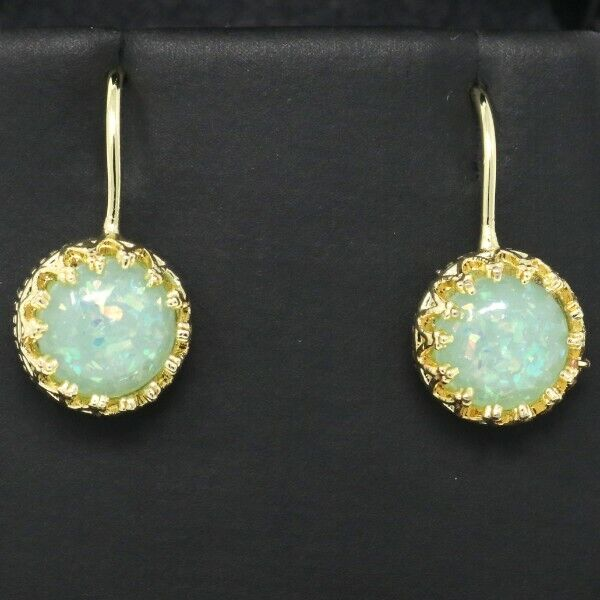Vintage Antique blueeee Opal Earrings Women Wedding Engagement Birthday Jewelry