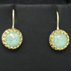 2-Ct-Blue-Australian-Opal-Earrings-Women-Wedding-Jewelry-14K-Yellow-Gold-Plated