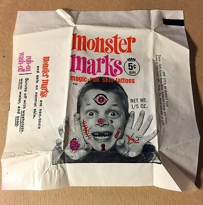 Vintage Rare 1960's Fleer Monster Marks Wax Pack Wrapper. -Great Condition