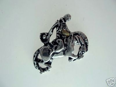 Cowboy on Rodeo Horse Pewter Tac Pin 1