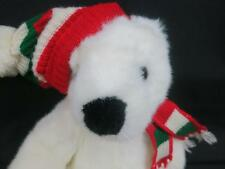 BIG TY 1997 HOLIDAY WHITE TEDDY BEAR RED GREEN SCARF HAT PLUSH STUFFED ANIMAL