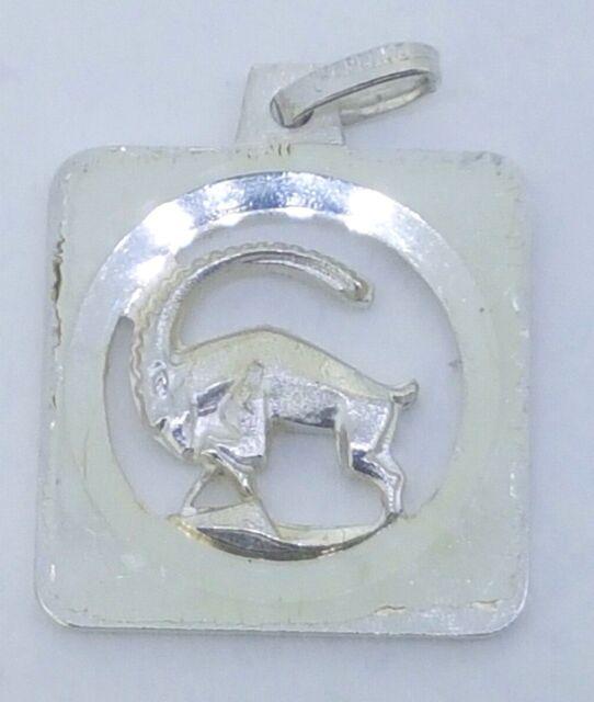 950 Fine Silver CAPRICORN Zodiac Pendant