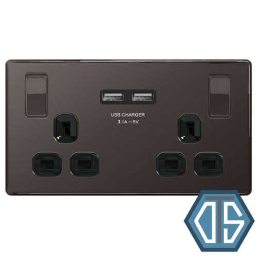 BG FBN22U3B Black Nickel USB Double Socket 2 Gang Twin Black Screwless Flatplate