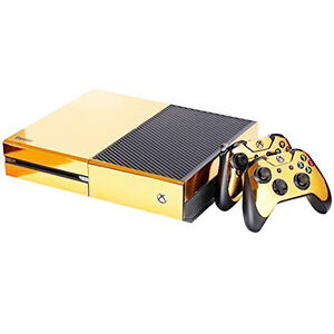 gold glossy vinyl decal skin stickers cover for xbox one s console 2controllers ebay. Black Bedroom Furniture Sets. Home Design Ideas