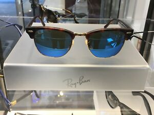 BRAND NEW Ray-Ban Clubmaster RB 3016 1145 17 size 51x21 mirrored ... 999dca809f47