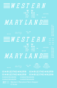 K4 O Decals Western Maryland Twin Hopper Car White Speed Letter