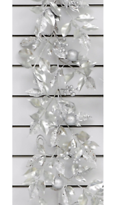 Laurel Leaf /& Balle Guirlande Décoration de Noël argent Nouveau 6 ft environ 1.83 m