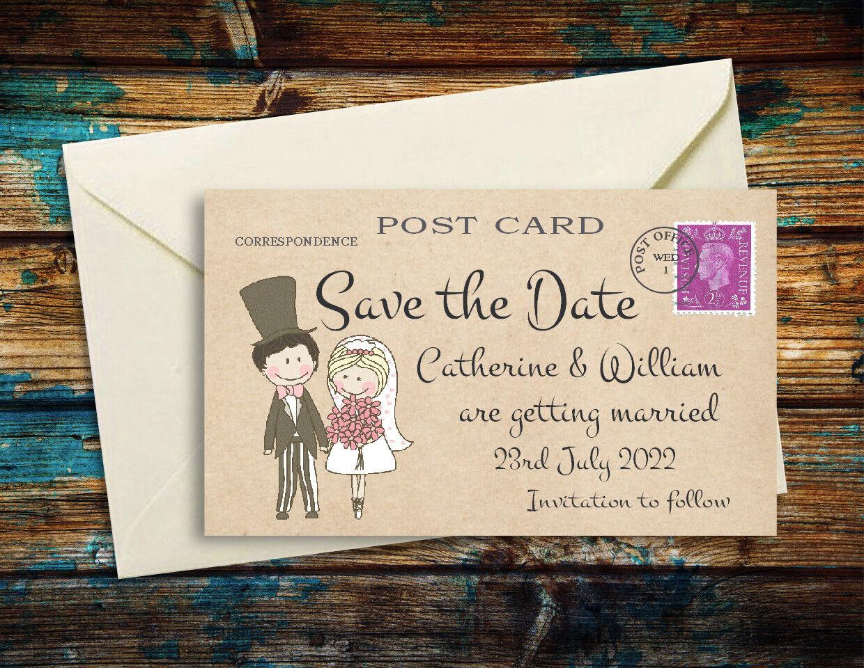 Save the date aimants mignon couple Personnalisé Mariage Aimants + enveloppes