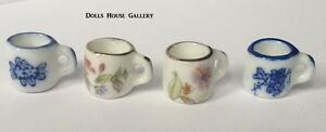 Set-Of-Four-Floral-Mugs-Dolls-House-Miniature-Cups-Mugs-Accessory-1-12-Scale