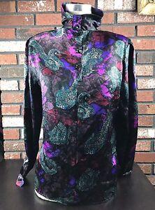 Tess-Paris-Milano-Floral-Multi-Color-Long-Sleeve-Blouse-Women-039-s-Size-4