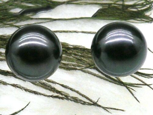 match pair perfect round loose black akoya pearl half drilled 8.5mm AAA++