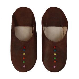 Babouche Dunkelbraun Bunte Dots Hausschuhe Lederhausschuhe Lederpuschen Marokko