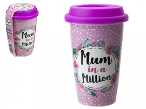 Mum In A Million Porcelain Mothers Day Travel Mug Thermal Coffee Drink Tea Cup