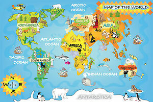 World map for kids educational bedroom large maxi poster art print image is loading world map for kids educational bedroom large maxi gumiabroncs Images