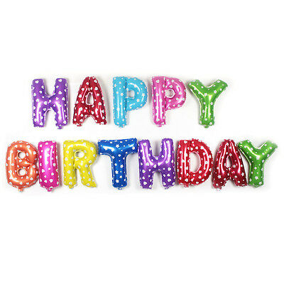 """13Pcs/Set Foil Balloon Letters """"HAPPY BIRTHDAY"""" Party Decoration for Kids Baby"""